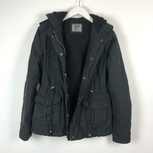Levi's black sherpa lined field military jacket